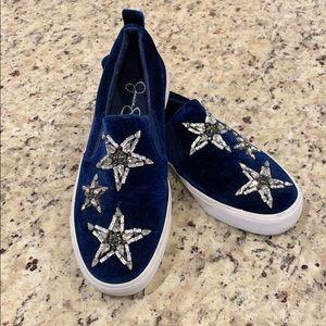 Jessica Simpson Blue Velveteen Star Sneakers 6.5 M